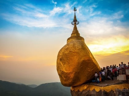 Kyaikhtiyo Golden Rock Kyaiktiyo pagoda at dusk Myanmar