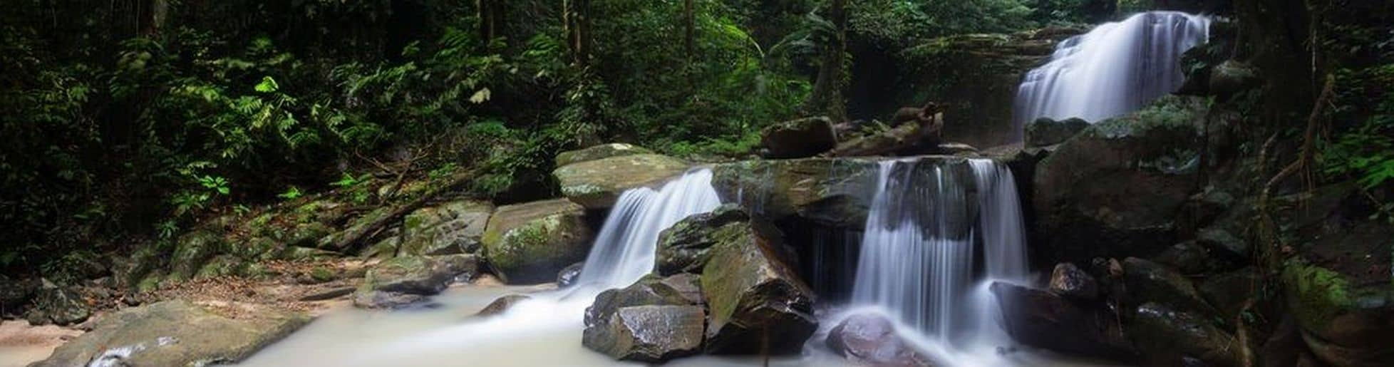 Beautiful waterfall in Borneo jungle